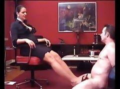 Bbw mistress footjob